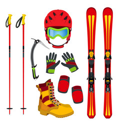 Helmet gloves ski boots pads ice pick in flat vector