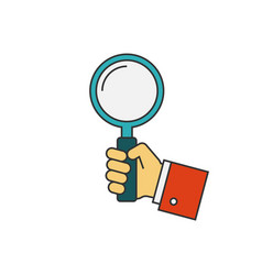 Holding magnifying glass flat line vector
