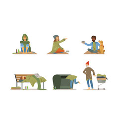 Homeless people characters set poverty vector