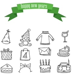 Icon of New Years collection vector