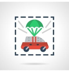 Insured car flat color design icon vector image