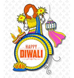 kid celebrating happy diwali holiday doodle vector image