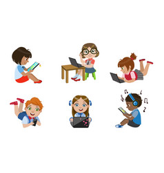 kids with gadgets set smiling boys and girls vector image