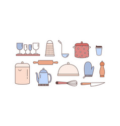 Kitchenware linear icons set various vector