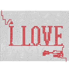Labyrinth with words - i love vector