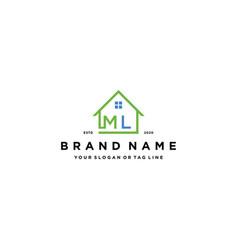 Letter ml home logo design vector