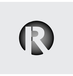 Letter r made wide white stripes vector