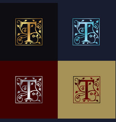 letter t decorative logo vector image