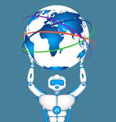 modern robot holding world globe vector image