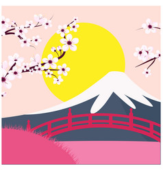 mount fuji sakura bridge sunset background vector image