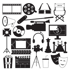 Movie icons collection vector