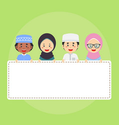 Muslim character holding an empty whiteboard vector