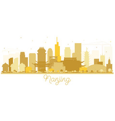 nanjing china skyline golden silhouette vector image