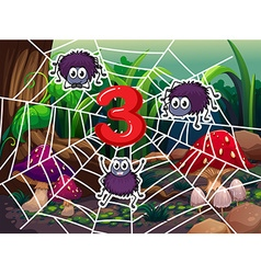 Number three with three spiders on web vector