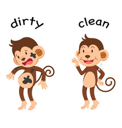 Opposite words dirty and clean vector