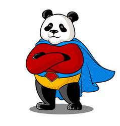 panda superhero pop art vector image