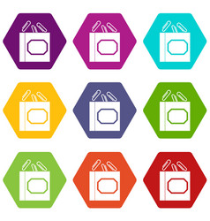 Paper clips box icon set color hexahedron vector
