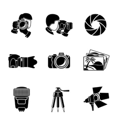 Photographer monochrome icons set with - shutter vector