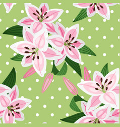 Pink lily on green background pattern vector