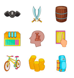 pirated thing icons set cartoon style vector image