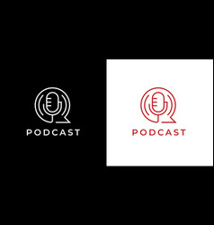 podcast mic icon vector image