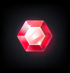 Red gem cartoon jewelry for game achievement top vector