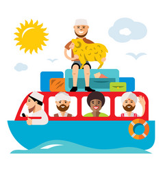 Refugee migrants boat illegal migration vector