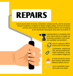 repair tools poster design vector image