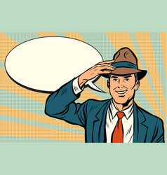 Retro businessman takes off his hat vector