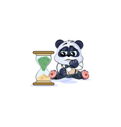 Sad panda bear in business suit sits at hourglass vector