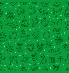 seamless green pattern card with holiday objects vector image