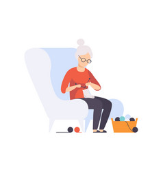 senior woman character sitting in armchair and vector image
