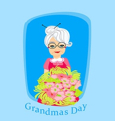 Senior woman with a bunch of flowers vector