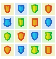 set different shield shapes icons vector image