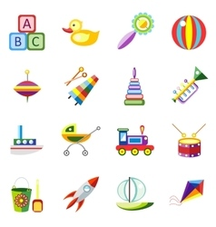 Set kids toys icons isolated vector