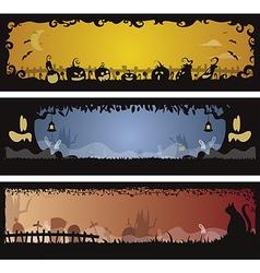 Set of 3 Halloween banners vector