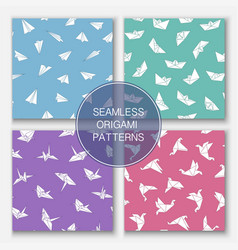set of colorful seamless origami patterns vector image