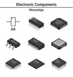 Set of izometric electronic components vector