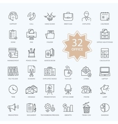 Set of Office Items Icons vector image