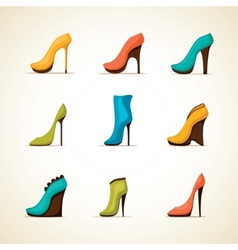 Set of womens shoes vector