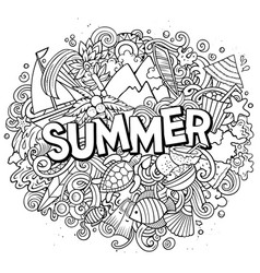 summer hand drawn cartoon doodles vector image