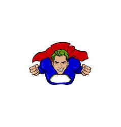 Super hero green hair man in cartoon comics book vector