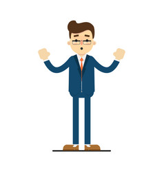 Surprised businessman with hands to side gesture vector