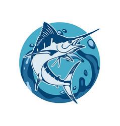 Swordfish and sea vector
