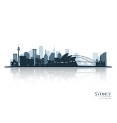 Sydney blue skyline silhouette with reflection vector