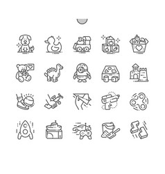 Toys well-crafted pixel perfect thin line vector