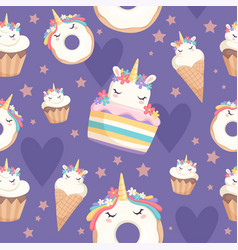 unicorn pattern dessert decoration magic pony vector image