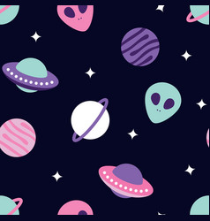 Universe with planets and aliens seamless pattern vector