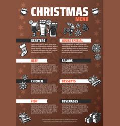 Vintage christmas menu poster vector
