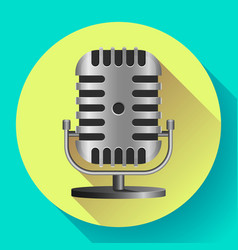 Vintage metal studio microphone icon vector